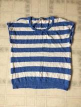 ANN TAYLOR Blue White Striped Linen Blend Sweater Size Large Sleeveless - $15.79