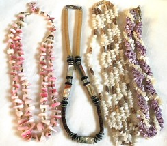 Lot of 4 Vintage Genuine Abalone Mother of Pearl Shell Bead Necklaces - $25.34