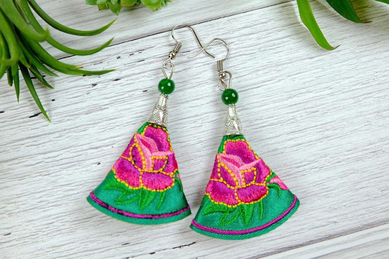 Floral Embroidery Dangle Earrings, Colorful Fabric Handmade Jewelry