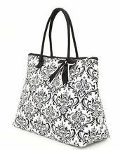 Belvah damask print black and white tote bag QND2705(BKBK) handbag purse... - $19.99