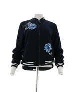 Susan Graver Embroidered Peachskin Bomber Jacket Navy Blue XL NEW A298498 - $47.50