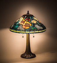 "Meyda Tiffany Vibrant Orange, Blues, Greens Poppy Cone Table Lamp  21.5""H - $271.40"