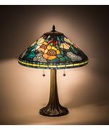 "Meyda Tiffany Vibrant Orange, Blues, Greens Poppy Cone Table Lamp  21.5""H - $271.40"
