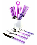 Rainbow Elite Casual Stainless Steel and Cool Purple 24-Piece Flatware Set - $32.68