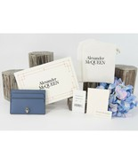 Alexander McQueen Skull Crystal Battleship Blue Leather Card Case Holder... - $222.26