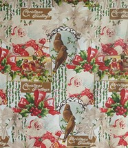 Christmas Greetings Santa Holly Collage Scrapbook Cotton Fabric JoAnn 2 ... - $11.99