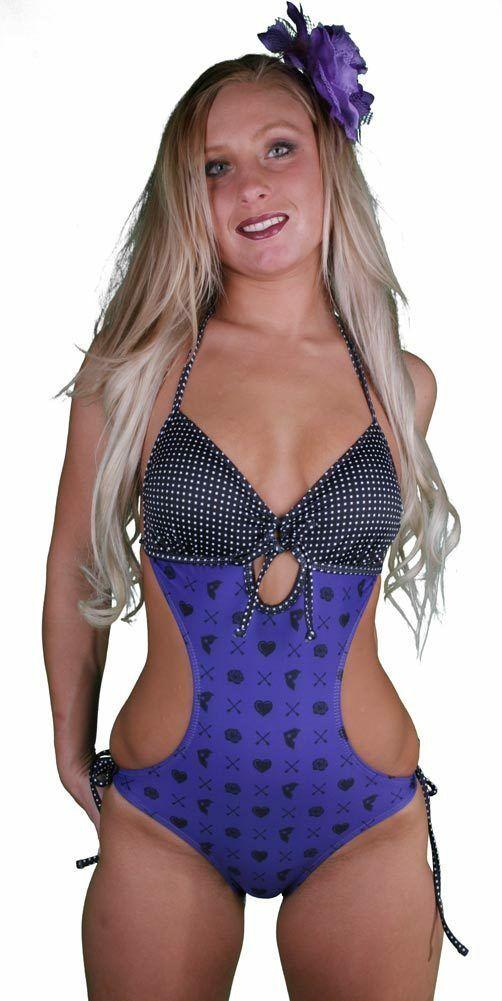 Famous Stars & Straps Womens Purple Black Genrose Juniors Monokini Swimsuit NWT