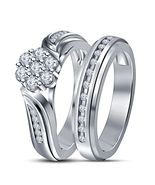 White gold fn 925 sterling silver simulated diamond round cut engagement... - $59.99