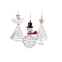 Lenox Spiral Crystal Glass Christmas Ornament Set of 3 NEW - $19.99