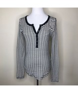 Lucky Brand Ivory Black Striped Fall Sweater Sz Medium - $19.00