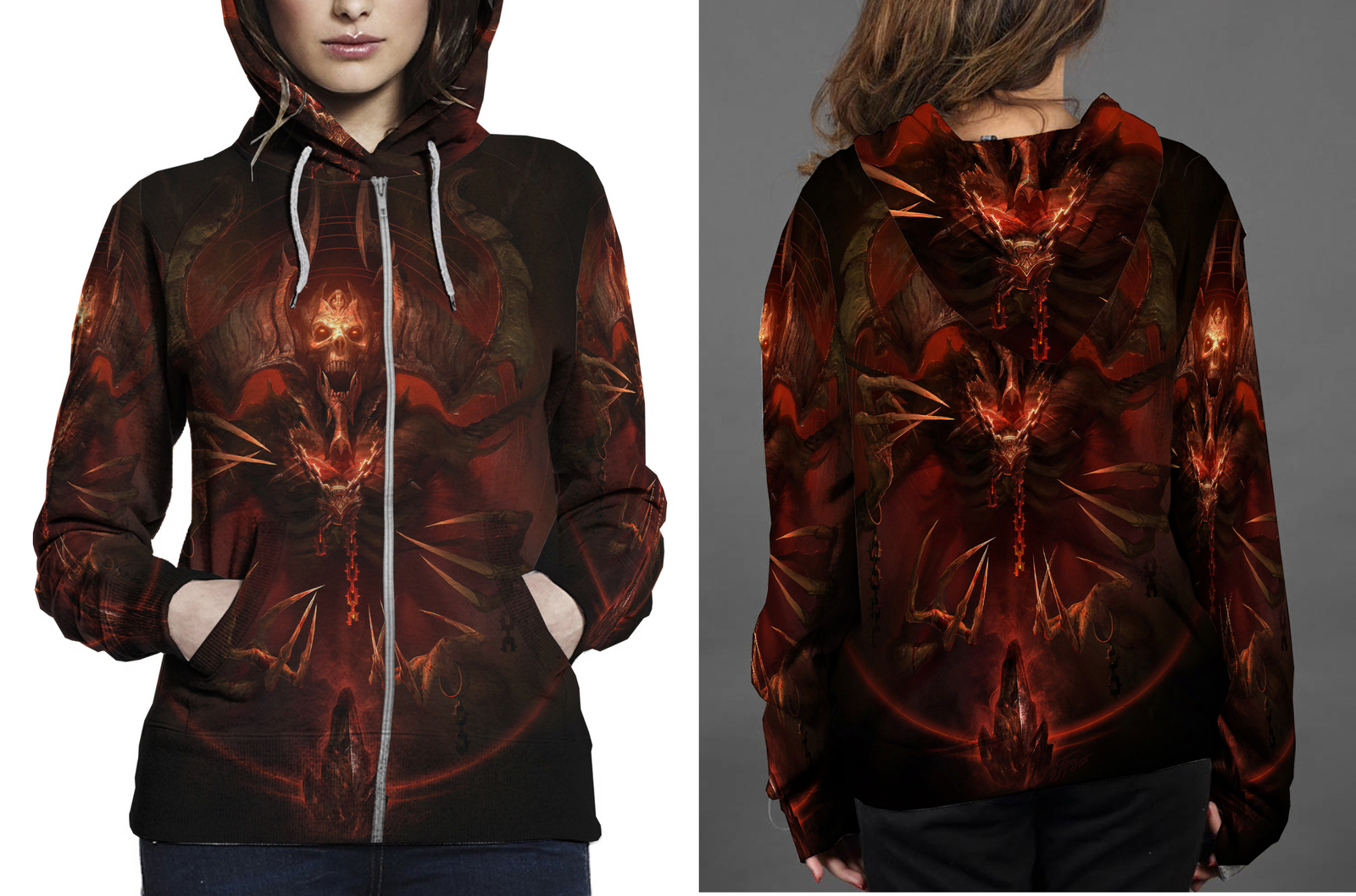 Mephisto  lord of hatred zipper hoodie women s