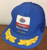 Vtg Amoco Motor Club Trucker Hat SnapBack Pro Driver Blue Gold Leaf Made In USA - $29.69