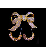 KJL Vintage  earrings - Pave brilliant rhinestone Bow Brooch - Designer ... - $95.00