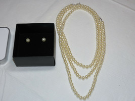 Ladies Womens Avon Long Pearlesque Statement Strand Gift Set F3818171 NIP - $24.79