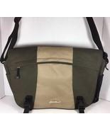 Eddie Bauer Large Green/Tan Fabric Messenger Laptop Computer Travel Bag - $37.82