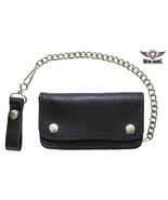 Men Wallet With Chain Black Genuine Cowhide Leather Motorcycle Biker Tru... - $34.60