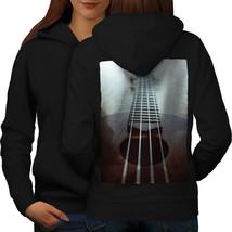 Guitar Strings Art Music Sweatshirt Hoody Old Instrument Women Hoodie Back - $21.99+