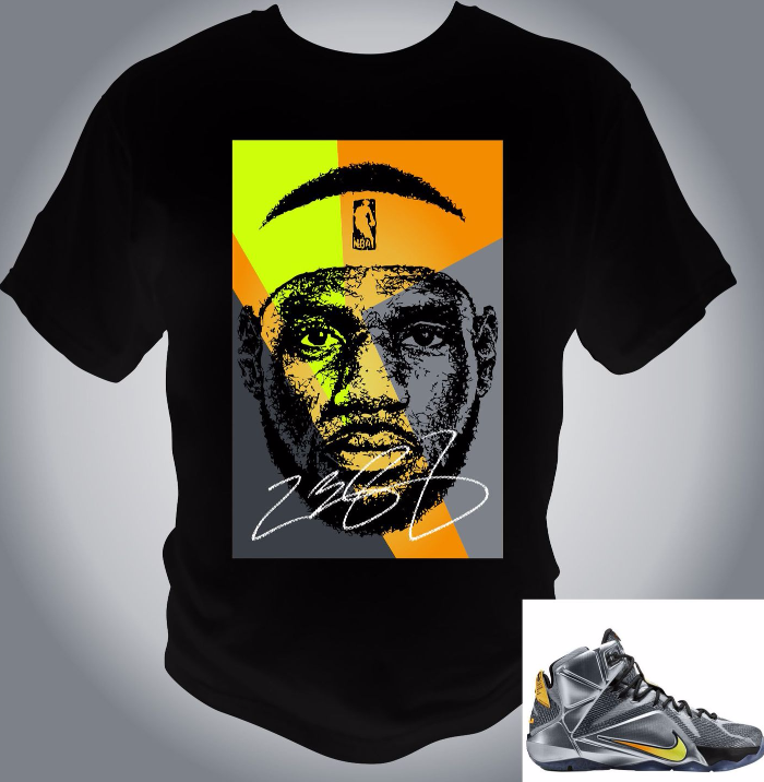 James LeBron Wolf Grey/Black/Bright Citrus T-Shirt Custom art and Print for sale  USA