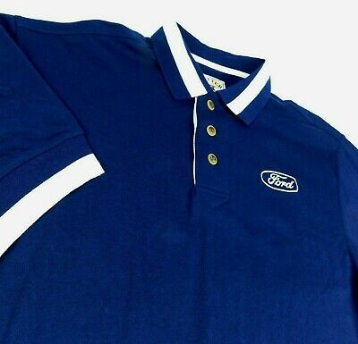 Primary image for Ford Motor Co Blue Polo Golf Shirt F150 Mustang Cutter Buck Blue Oval Logo Sz L
