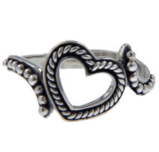 925 Sterling Silver Heart Die Cut Ring Size 7.5 »R14 - $19.95