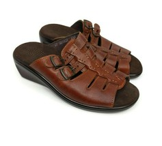 SAS Tango Womens Size 6.5 Tripad Comfort BrownWedge Buckle Slides Sandals - $29.69