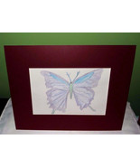 Purple butterfly pencil art sketch, hand drawn and colored, girls room - $15.00