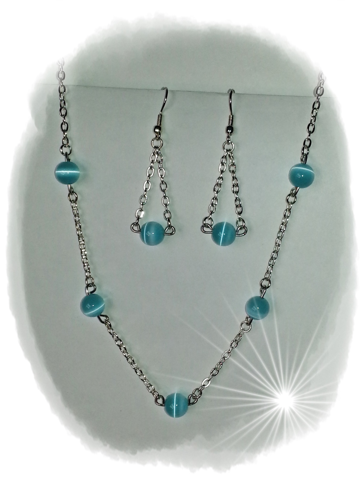 Primary image for Necklace Earrings Blue CatEye FiberOptic Silver Pierced NickleFree Fashion Set