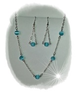 Necklace Earrings Blue CatEye FiberOptic Silver Pierced NickleFree Fashi... - $20.00