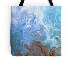 Tote bag All over print Design 52 blue white twists digital art L.Dumas - $29.99+