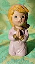 Vintage Girl praying Figurine Homco #5211 pink clothes blonde hair 4.25 ... - $5.89