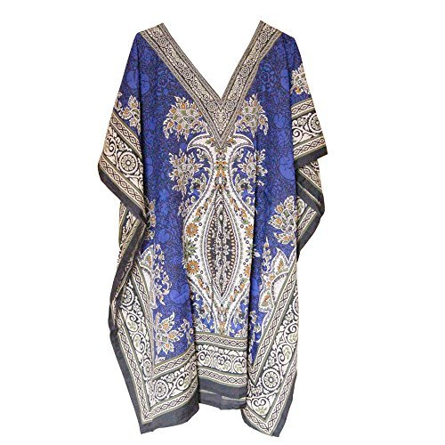 Primary image for Women's Short Kaftan Free Size V Neck Top Mini Poncho Dress Beach Cover Up Eveni