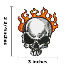 Skull Flame Logo Embroidered Iron On Patch - $1.60