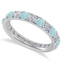 2.00 Ct Round Diamond & Aquarmarine 14K Gold Full Eternity Wedding Band ... - €596,18 EUR