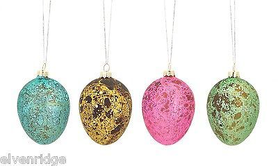 Blown Glass Spring Easter Eggs Set of 4 in bold colors w metallic finish