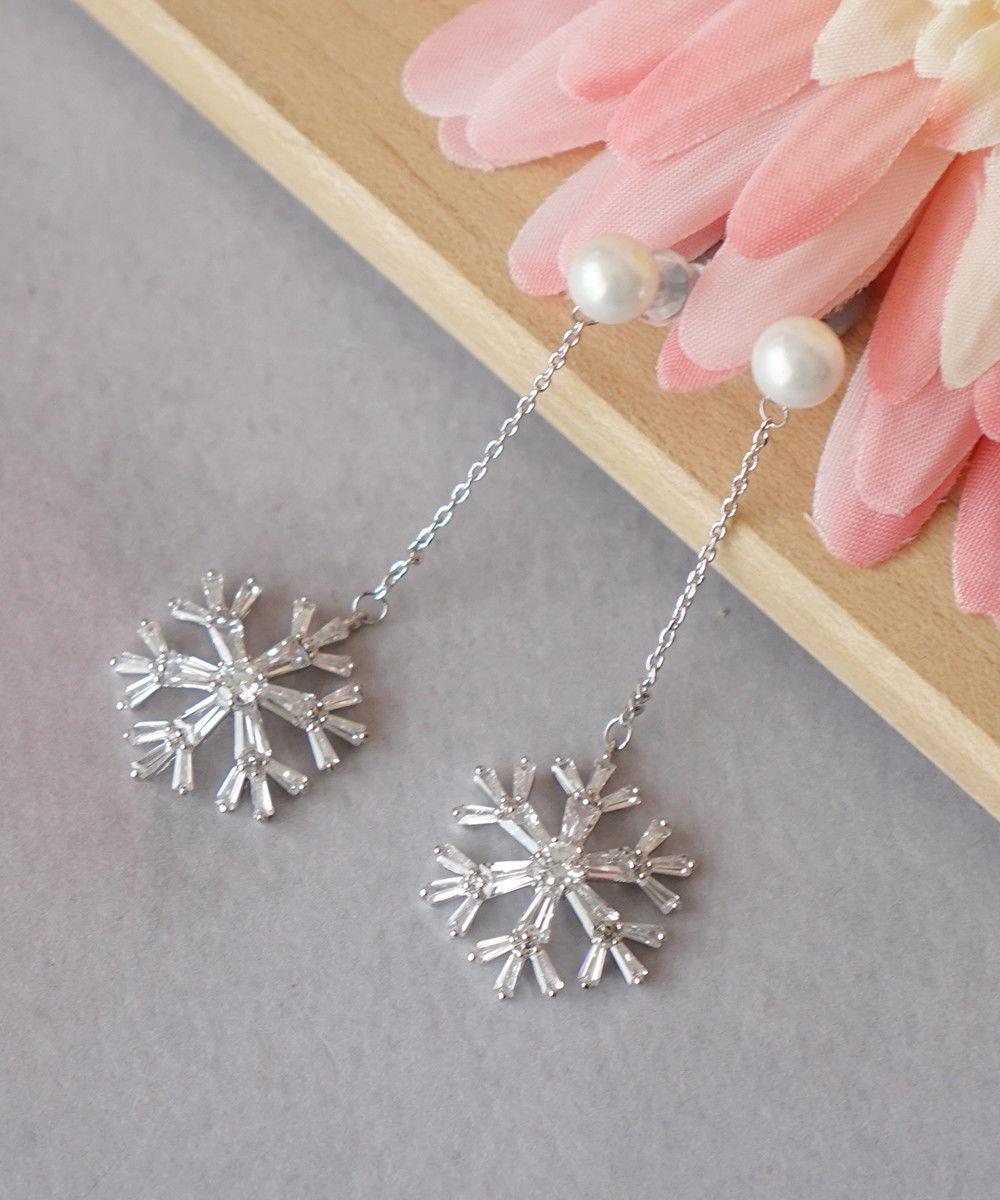 Best Christmas Danties: Dangle Crystal Snowflake Earrings, Dainty Winter Pearl