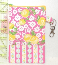 Clip-On Cell Phone Case - Large - Yellow Roses and Pink Stripes  - COPC - $4.00