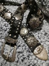 Sand Castle vintage black leather belt conchos & studs  L / XL - $30.00