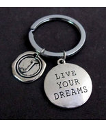 Live Your Dream Keychain,personalized initial c... - $11.00