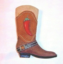"Western Cowboy Boot Ornament Red Chili Pepper 4-1/2"" Long Christmas - $11.34"