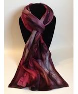 Hand Painted Silk Scarf Wine Plum Purple Silver Unique Womens Head Neck ... - $46.00
