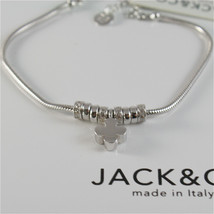 925 RHODIUM SILVER JACK&CO BRACELET WITH SHINY FOUR LEAF CLOVER  MADE IN ITALY image 2