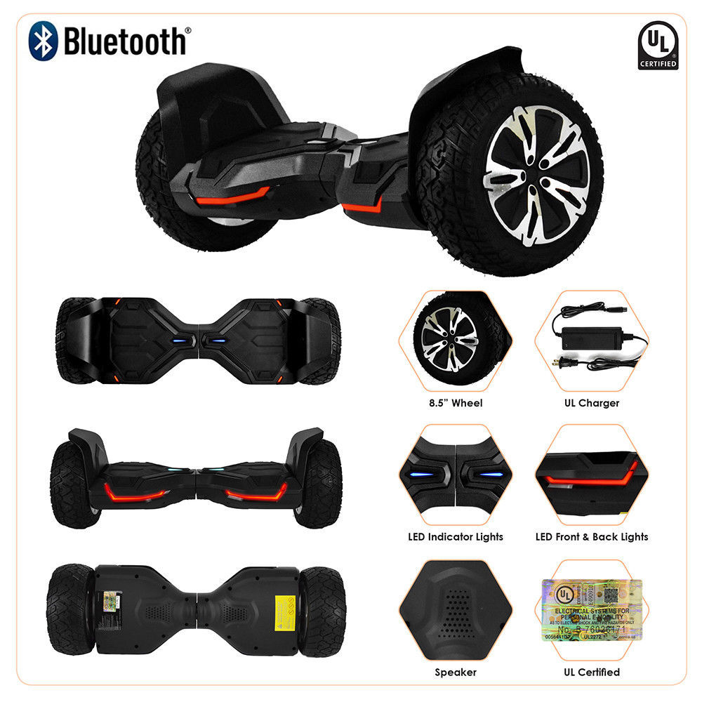 "Black 8.5"" Off Road All Terrain Bluetooth Hoverboard Two Wheel Balance Scooter"