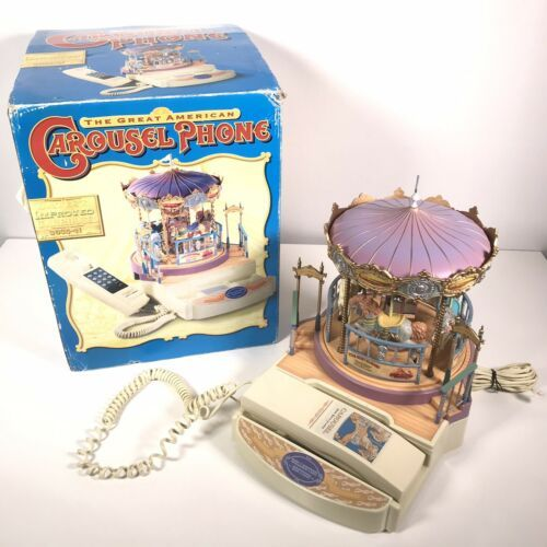 Great American Musical Merry Go Round Carousel Corded Novelty Phone Wind Up