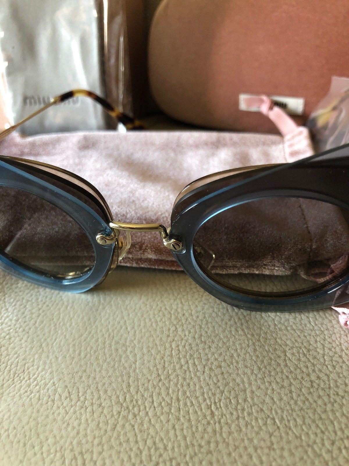 Miu Miu Over Lapping Butterfly SMU 02S VA0-0A7 63#16 140 2N Azure Sunglasses New