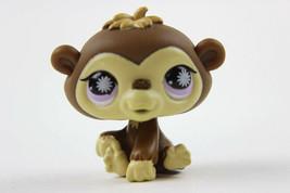 Littlest Pet Shop #834 Brown Baby Chimpanzee Monkey with Purple Starburst Eyes - $6.43
