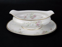 CH Field Haviland GDA Limoges, Gravy Boat w/ Attached Plate Pink Roses Gold Trim - $58.75