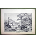 GUYANA South America Landscape with Waterfall - 1858 Engraving Print - $7.88