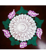 LARGE LUSCIOUS HAND CROCHET GRAPE DOILIE DOILY New from Vintage Pattern - $32.99