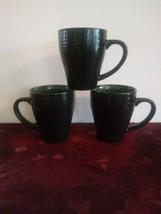 Set of 3 Daymon Jade by Mikasa Coffee Mug Green Tan Embossed Dots  - $23.36
