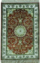 Brick Red - Ivory Traditional Runner Cotton Silk Hand-Knotted Rug 3' X 4... - $291.72